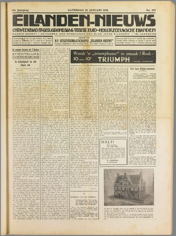 Eilanden-nieuws. Christelijk streekblad op gereformeerde grondslag 1938-01-22