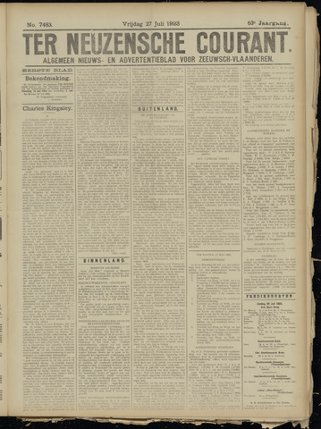 Ter Neuzensche Courant. Algemeen Nieuws- en Advertentieblad voor Zeeuwsch-Vlaanderen / Neuzensche Courant ... (idem) / (Algemeen) nieuws en advertentieblad voor Zeeuwsch-Vlaanderen 1923-07-27
