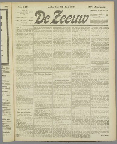 De Zeeuw. Christelijk-historisch nieuwsblad voor Zeeland 1916-07-22