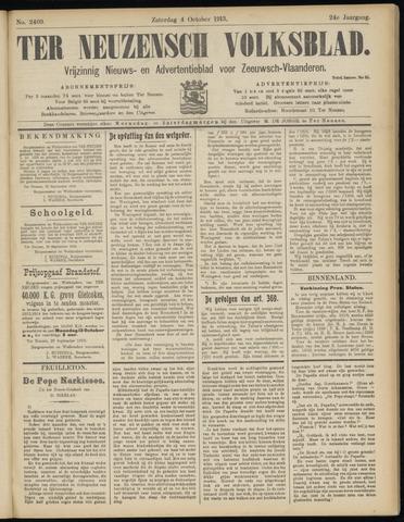 Ter Neuzensch Volksblad. Vrijzinnig nieuws- en advertentieblad voor Zeeuwsch- Vlaanderen / Zeeuwsch Nieuwsblad. Nieuws- en advertentieblad voor Zeeland 1913-10-04