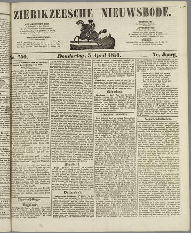 Zierikzeesche Nieuwsbode 1851-04-03
