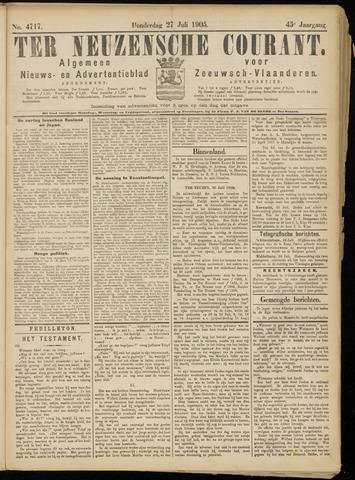 Ter Neuzensche Courant. Algemeen Nieuws- en Advertentieblad voor Zeeuwsch-Vlaanderen / Neuzensche Courant ... (idem) / (Algemeen) nieuws en advertentieblad voor Zeeuwsch-Vlaanderen 1905-07-27
