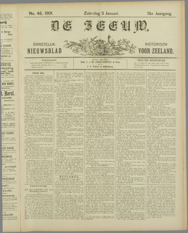 De Zeeuw. Christelijk-historisch nieuwsblad voor Zeeland 1901-01-05