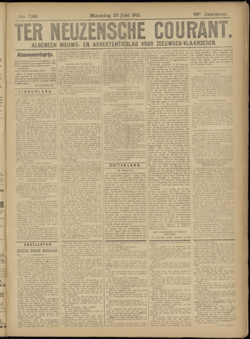 Ter Neuzensche Courant. Algemeen Nieuws- en Advertentieblad voor Zeeuwsch-Vlaanderen / Neuzensche Courant ... (idem) / (Algemeen) nieuws en advertentieblad voor Zeeuwsch-Vlaanderen 1921-06-20