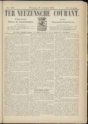 Ter Neuzensche Courant. Algemeen Nieuws- en Advertentieblad voor Zeeuwsch-Vlaanderen / Neuzensche Courant ... (idem) / (Algemeen) nieuws en advertentieblad voor Zeeuwsch-Vlaanderen 1878-11-13