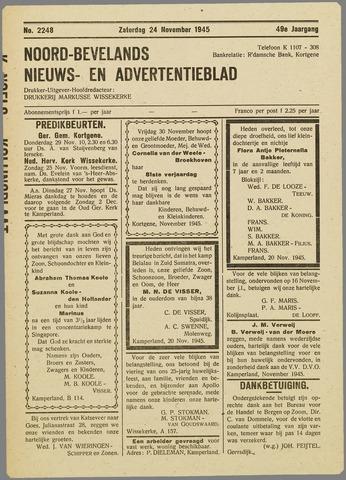 Noord-Bevelands Nieuws- en advertentieblad 1945-11-24