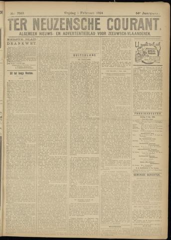 Ter Neuzensche Courant. Algemeen Nieuws- en Advertentieblad voor Zeeuwsch-Vlaanderen / Neuzensche Courant ... (idem) / (Algemeen) nieuws en advertentieblad voor Zeeuwsch-Vlaanderen 1924-02-01