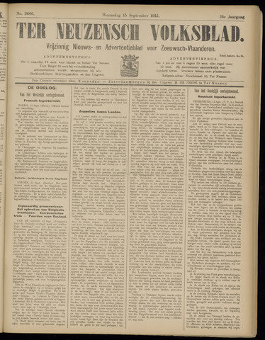 Ter Neuzensch Volksblad. Vrijzinnig nieuws- en advertentieblad voor Zeeuwsch- Vlaanderen / Zeeuwsch Nieuwsblad. Nieuws- en advertentieblad voor Zeeland 1915-09-15