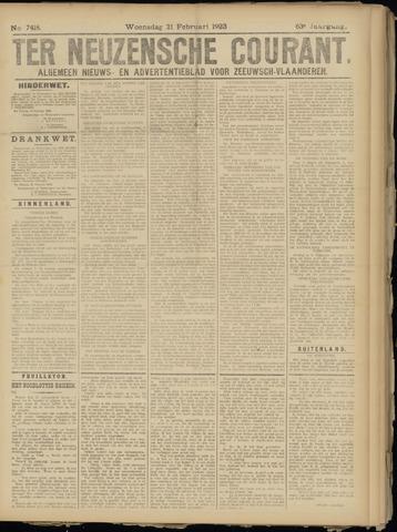 Ter Neuzensche Courant. Algemeen Nieuws- en Advertentieblad voor Zeeuwsch-Vlaanderen / Neuzensche Courant ... (idem) / (Algemeen) nieuws en advertentieblad voor Zeeuwsch-Vlaanderen 1923-02-21