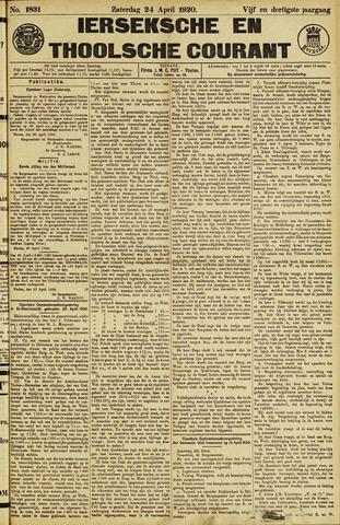 Ierseksche en Thoolsche Courant 1920-04-24