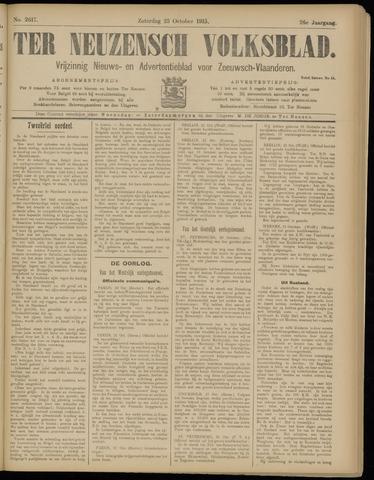 Ter Neuzensch Volksblad. Vrijzinnig nieuws- en advertentieblad voor Zeeuwsch- Vlaanderen / Zeeuwsch Nieuwsblad. Nieuws- en advertentieblad voor Zeeland 1915-10-23