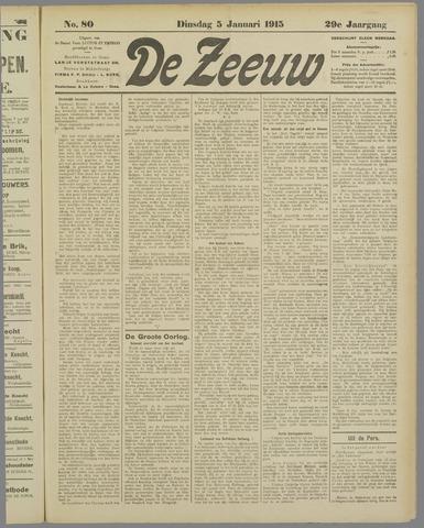 De Zeeuw. Christelijk-historisch nieuwsblad voor Zeeland 1915-01-05