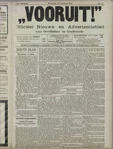 """""""Vooruit!""""Officieel Nieuws- en Advertentieblad voor Overflakkee en Goedereede 1916-02-23"""