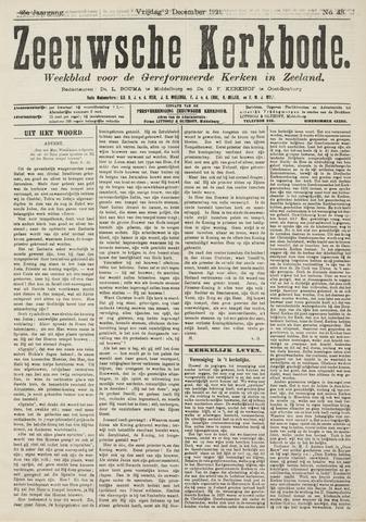 Zeeuwsche kerkbode, weekblad gewijd aan de belangen der gereformeerde kerken/ Zeeuwsch kerkblad 1921-12-02