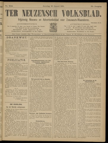 Ter Neuzensch Volksblad. Vrijzinnig nieuws- en advertentieblad voor Zeeuwsch- Vlaanderen / Zeeuwsch Nieuwsblad. Nieuws- en advertentieblad voor Zeeland 1915-01-30