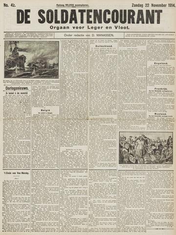 De Soldatencourant. Orgaan voor Leger en Vloot 1914-11-22
