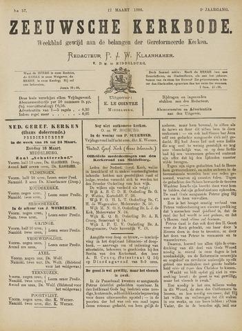 Zeeuwsche kerkbode, weekblad gewijd aan de belangen der gereformeerde kerken/ Zeeuwsch kerkblad 1888-03-17