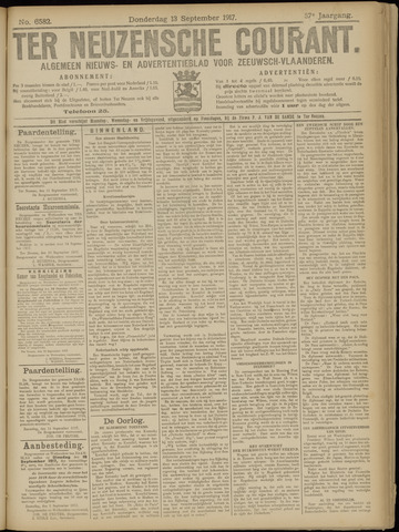 Ter Neuzensche Courant. Algemeen Nieuws- en Advertentieblad voor Zeeuwsch-Vlaanderen / Neuzensche Courant ... (idem) / (Algemeen) nieuws en advertentieblad voor Zeeuwsch-Vlaanderen 1917-09-13