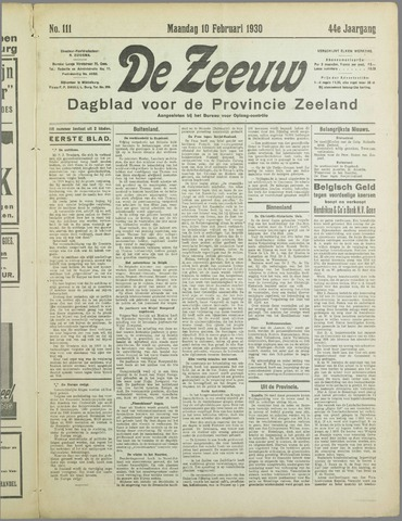 De Zeeuw. Christelijk-historisch nieuwsblad voor Zeeland 1930-02-10