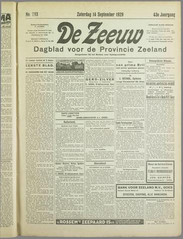De Zeeuw. Christelijk-historisch nieuwsblad voor Zeeland 1929-09-14