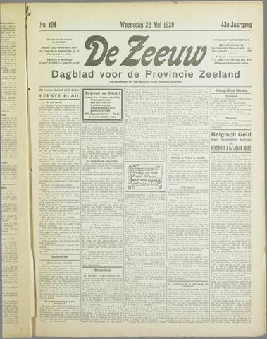 De Zeeuw. Christelijk-historisch nieuwsblad voor Zeeland 1929-05-22