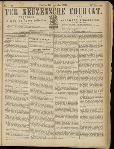 Ter Neuzensche Courant. Algemeen Nieuws- en Advertentieblad voor Zeeuwsch-Vlaanderen / Neuzensche Courant ... (idem) / (Algemeen) nieuws en advertentieblad voor Zeeuwsch-Vlaanderen 1905-09-30
