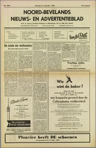 Noord-Bevelands Nieuws- en advertentieblad 1958-09-27