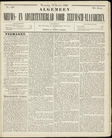 Ter Neuzensche Courant. Algemeen Nieuws- en Advertentieblad voor Zeeuwsch-Vlaanderen / Neuzensche Courant ... (idem) / (Algemeen) nieuws en advertentieblad voor Zeeuwsch-Vlaanderen 1869-10-13