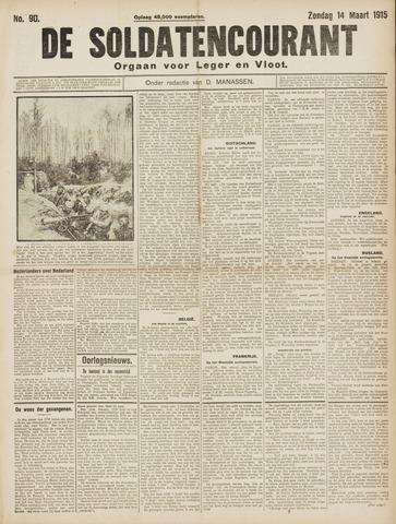 De Soldatencourant. Orgaan voor Leger en Vloot 1915-03-14