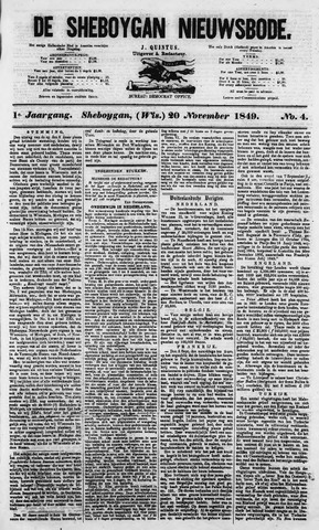 Sheboygan Nieuwsbode 1849-11-20