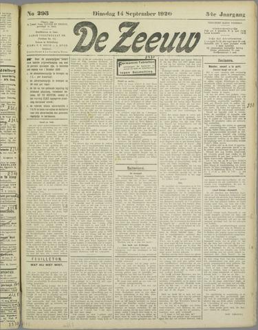 De Zeeuw. Christelijk-historisch nieuwsblad voor Zeeland 1920-09-14