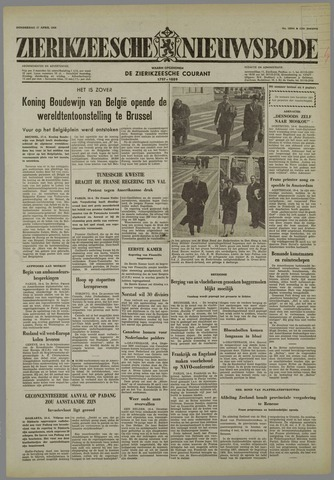 Zierikzeesche Nieuwsbode 1958-04-17