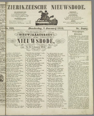 Zierikzeesche Nieuwsbode 1852