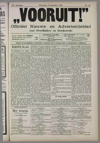 """""""Vooruit!""""Officieel Nieuws- en Advertentieblad voor Overflakkee en Goedereede 1912-09-18"""