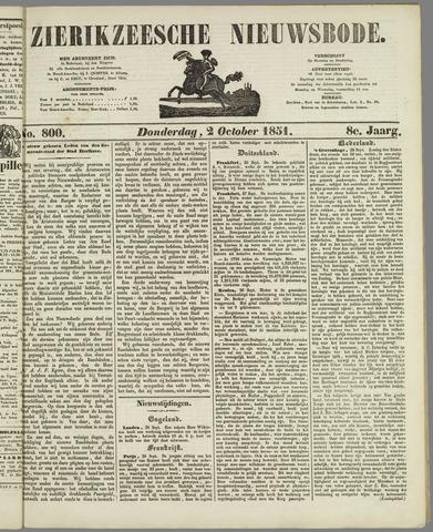 Zierikzeesche Nieuwsbode 1851-10-02