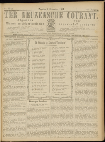 Ter Neuzensche Courant. Algemeen Nieuws- en Advertentieblad voor Zeeuwsch-Vlaanderen / Neuzensche Courant ... (idem) / (Algemeen) nieuws en advertentieblad voor Zeeuwsch-Vlaanderen 1907-09-07