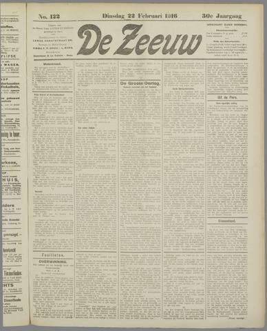 De Zeeuw. Christelijk-historisch nieuwsblad voor Zeeland 1916-02-22