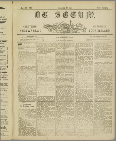 De Zeeuw. Christelijk-historisch nieuwsblad voor Zeeland 1896-06-18