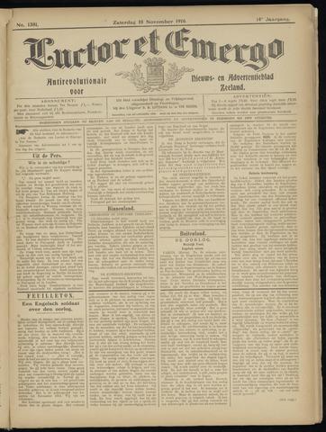 Luctor et Emergo. Antirevolutionair nieuws- en advertentieblad voor Zeeland / Zeeuwsch-Vlaanderen. Orgaan ter verspreiding van de christelijke beginselen in Zeeuwsch-Vlaanderen 1916-11-18