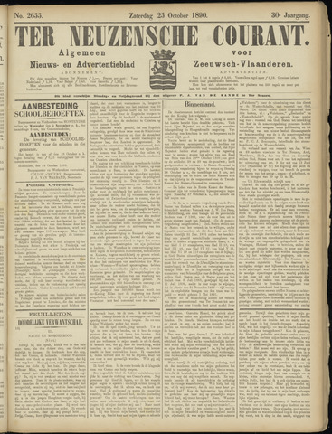 Ter Neuzensche Courant. Algemeen Nieuws- en Advertentieblad voor Zeeuwsch-Vlaanderen / Neuzensche Courant ... (idem) / (Algemeen) nieuws en advertentieblad voor Zeeuwsch-Vlaanderen 1890-10-25