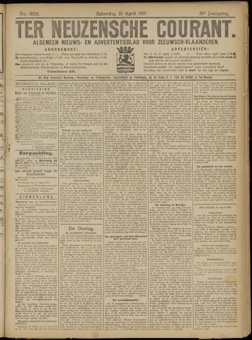 Ter Neuzensche Courant. Algemeen Nieuws- en Advertentieblad voor Zeeuwsch-Vlaanderen / Neuzensche Courant ... (idem) / (Algemeen) nieuws en advertentieblad voor Zeeuwsch-Vlaanderen 1917-04-21