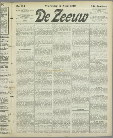 De Zeeuw. Christelijk-historisch nieuwsblad voor Zeeland 1920-04-14