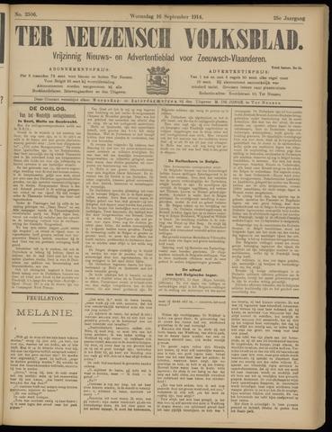 Ter Neuzensch Volksblad. Vrijzinnig nieuws- en advertentieblad voor Zeeuwsch- Vlaanderen / Zeeuwsch Nieuwsblad. Nieuws- en advertentieblad voor Zeeland 1914-09-16
