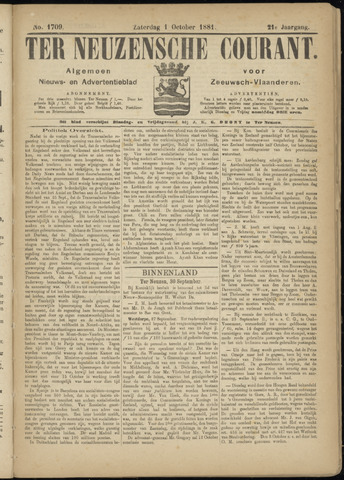 Ter Neuzensche Courant. Algemeen Nieuws- en Advertentieblad voor Zeeuwsch-Vlaanderen / Neuzensche Courant ... (idem) / (Algemeen) nieuws en advertentieblad voor Zeeuwsch-Vlaanderen 1881-10-01