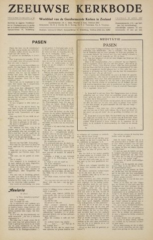 Zeeuwsche kerkbode, weekblad gewijd aan de belangen der gereformeerde kerken/ Zeeuwsch kerkblad 1957-04-19