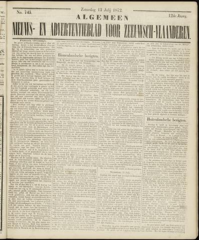Ter Neuzensche Courant. Algemeen Nieuws- en Advertentieblad voor Zeeuwsch-Vlaanderen / Neuzensche Courant ... (idem) / (Algemeen) nieuws en advertentieblad voor Zeeuwsch-Vlaanderen 1872-07-13