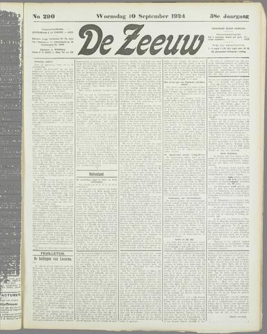 De Zeeuw. Christelijk-historisch nieuwsblad voor Zeeland 1924-09-10