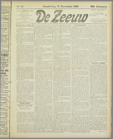 De Zeeuw. Christelijk-historisch nieuwsblad voor Zeeland 1921-11-17