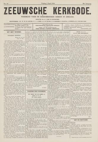 Zeeuwsche kerkbode, weekblad gewijd aan de belangen der gereformeerde kerken/ Zeeuwsch kerkblad 1936-04-03