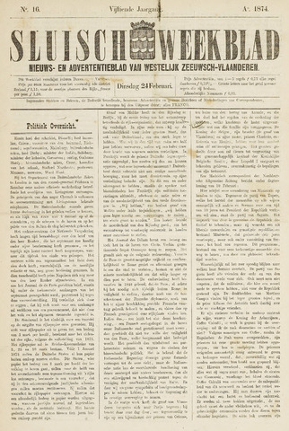 Sluisch Weekblad. Nieuws- en advertentieblad voor Westelijk Zeeuwsch-Vlaanderen 1874-02-24
